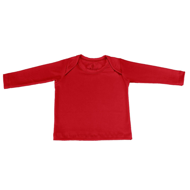 Camiseta Manga Longa Vermelho Recém-Nascido a 3 Meses
