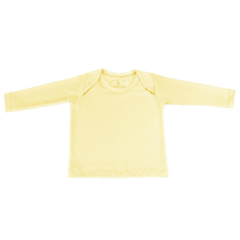 Camiseta Manga Longa Amarelo 6 a 9 Meses