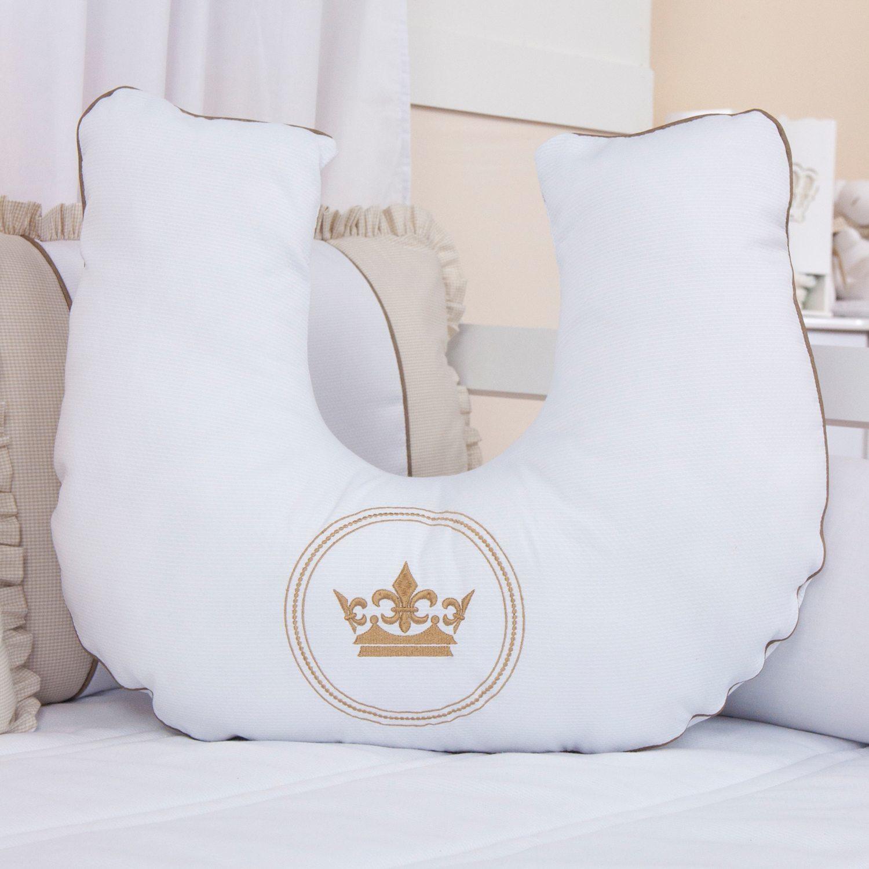 Almofada para Amamentação Coroa Brasão Xadrez Bege