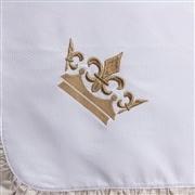 Manta Coroa Brasão Xadrez Bege