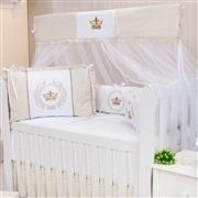 Quarto para Bebê sem Cama Babá Coroa Brasão Xadrez Bege