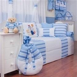 Kit Cama Babá Veleiro Azul Claro