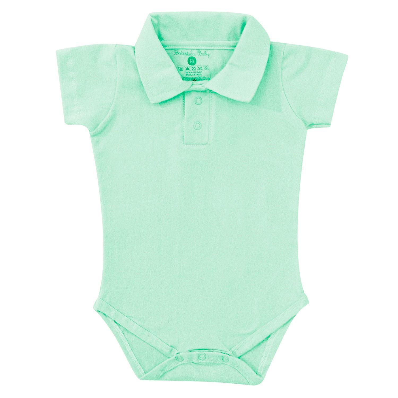 Body Manga Curta Polo Verde 12 a 15 meses