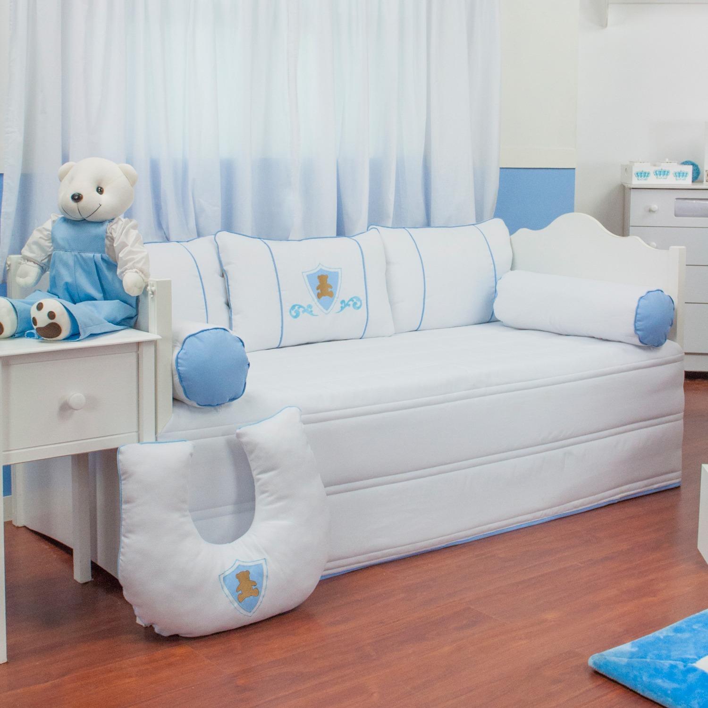 Kit Cama Babá Urso Escudo Azul