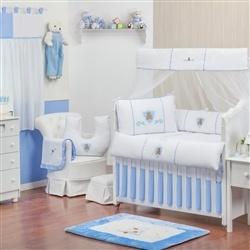 Quarto para Bebê sem Cama Babá Urso Escudo Azul