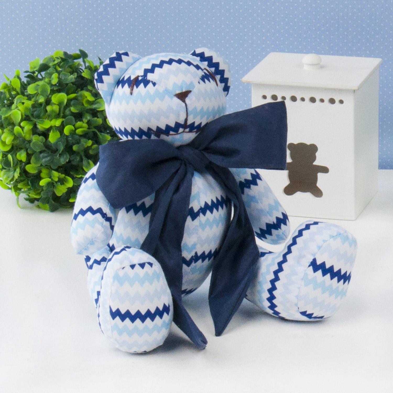 Urso P Azul Sianinha com Gravata Marinho