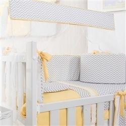 Kit Mini Berço Baby Chevron Amarelo