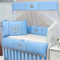 Kit Berço Coroa Brasão Azul