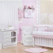 Quarto para Bebê sem Cama Babá Flora Rosa