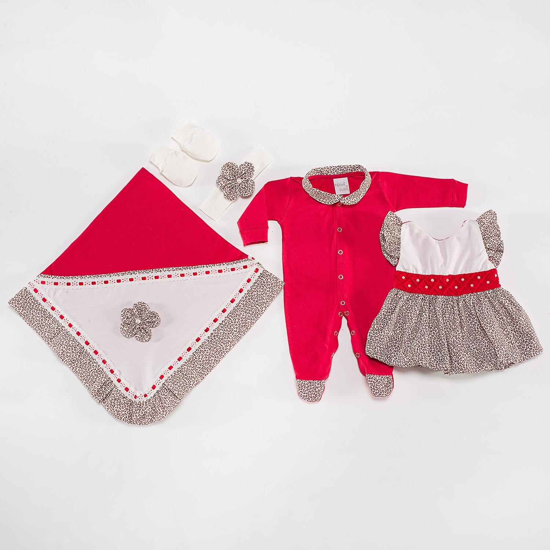 Saída Maternidade Vestido Oncinha Vermelha RN