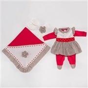 Saída Maternidade Vestido Oncinha Vermelha P