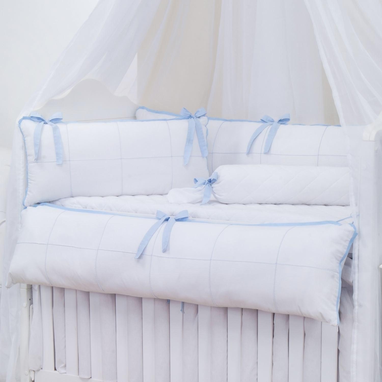 Kit Berço Clean Azul e Branco