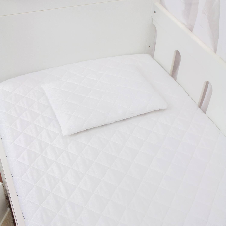 Kit Protetores de Colchão de Berço e Travesseirinho Matelado Branco