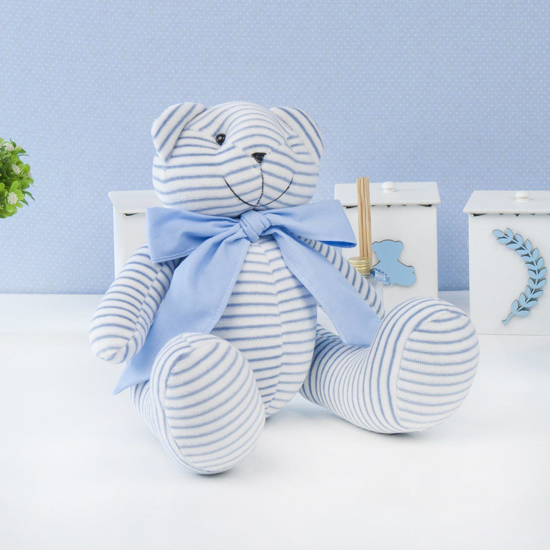 Urso M Plush Listrado Azul com Gravata Azul