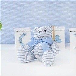 Urso P Plush Listrado Azul com Gravata Azul