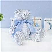 Ursos Plush Listrado Azul com Gravata Azul