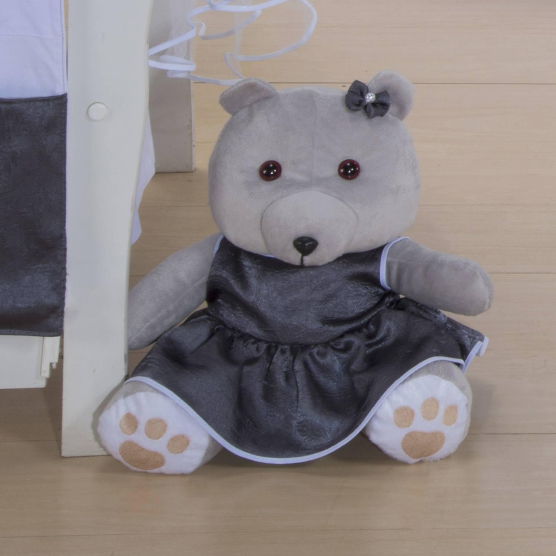 Ursa Requinte M Cinza com Vestidinho de Cetim