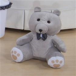 Urso Requinte M Cinza com Gravatinha de Cetim