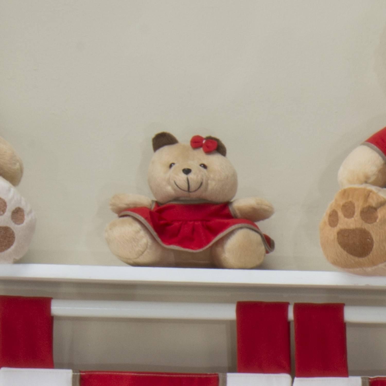 Ursa Requinte P Bege com Vestidinho Vermelho
