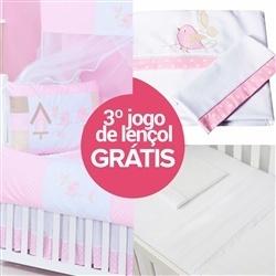 Kit Berço Passarinhos Rosa + Jogo de Lençol