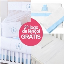 Kit Berço Realeza Azul + Jogo de Lençol
