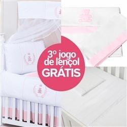 Kit Berço Realeza Rosa + Jogo de Lençol