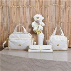 Conjunto de Bolsas Maternidade com Trocador Realeza Marfim