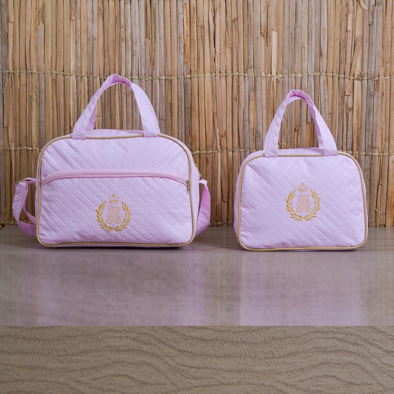 Conjunto de Bolsas Maternidade Urso Dourado Rosa
