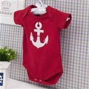 Body Manga Curta Âncora Vermelho Recém-nascido a 3 meses