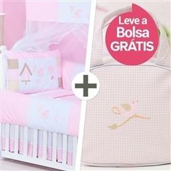 Kit Berço Passarinhos Rosa + Bolsa
