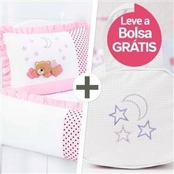 Kit Berço Soninho Rosa + Bolsa