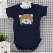 Body Manga Curta Urso Marinho Recém-nascido a 3 meses