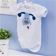 Body Manga Curta Cachorro Branco Recém-nascido a 3 meses