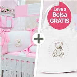 Kit Berço Teddy Rosa + Bolsa