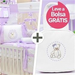 Kit Berço Teddy Lilás + Bolsa
