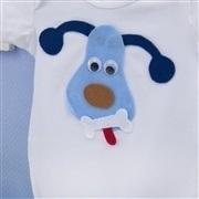 Body Manga Curta Cachorro Branco 9 a 12 Meses