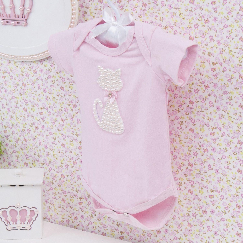 Body Manga Curta Gatinha Rosa Recém-nascido a 3 meses