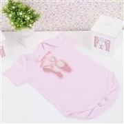 Body Manga Curta Sapatilha Rosa Recém-nascido a 3 meses