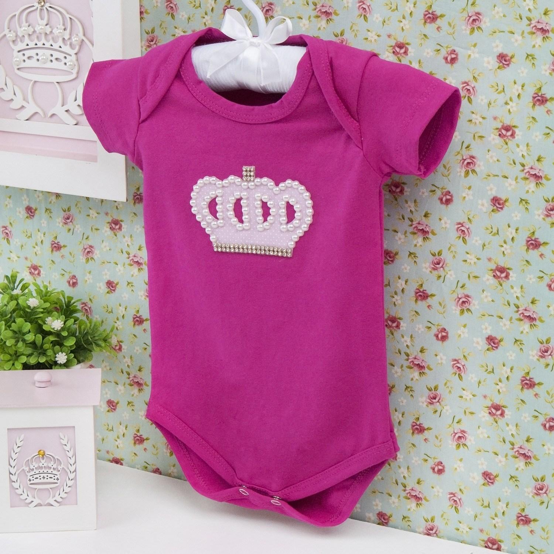 Body Manga Curta Coroa Poá Com Pérolas Pink Recém-nascido a 3 meses