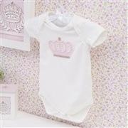 Body Manga Curta Coroa Poá Com Pérolas Palha Recém-nascido a 3 meses