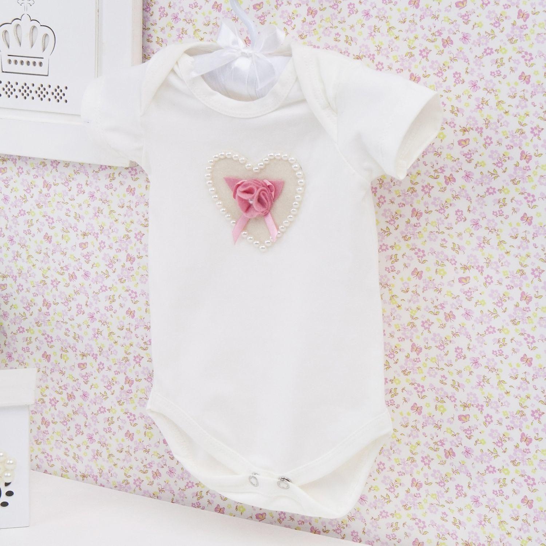 Body Manga Curta Coração com Flor e Pérolas Palha Recém-nascido a 3 meses