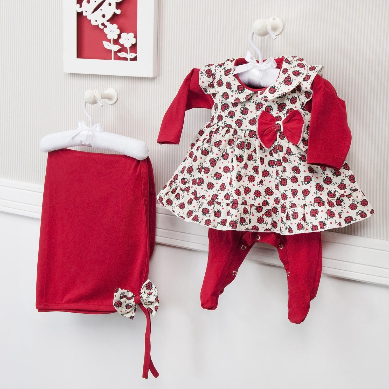 Saída Maternidade 03 Peças Feminina Joaninha Vermelho Tamanho Único