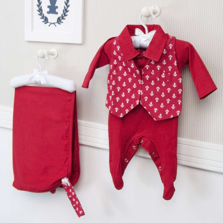 Saída Maternidade 03 Peças Masculino Marinheiro Tamanho Único
