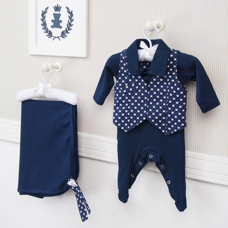 Saída Maternidade 03 Peças Masculino Príncipe Tamanho Único