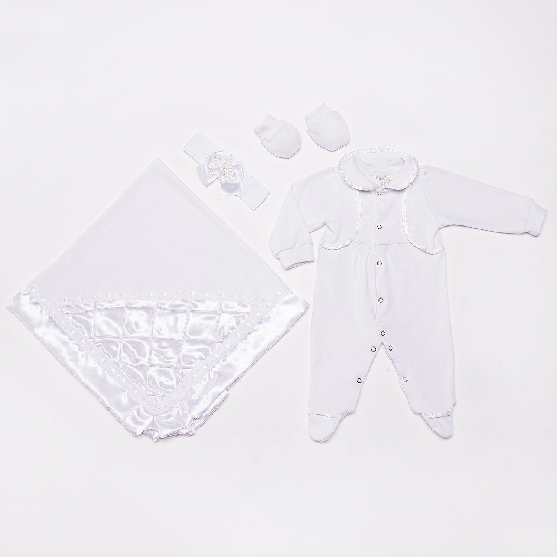 Saída Maternidade Brilhante Branco Feminino RN