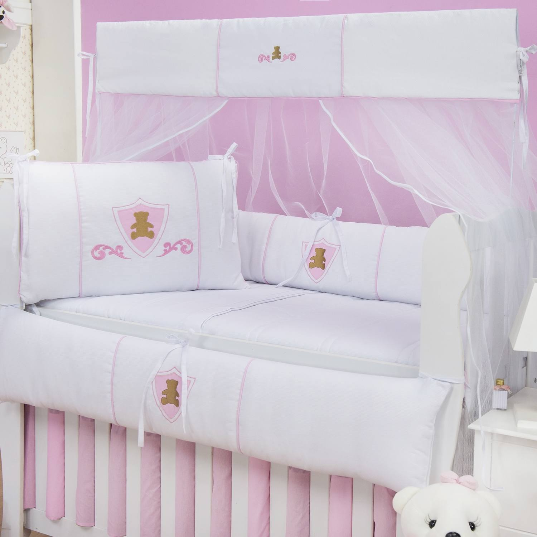 Kit Berço Urso Escudo Rosa