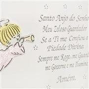 Quadro Decorativo Arabesco Oração Santo Anjo Rosa