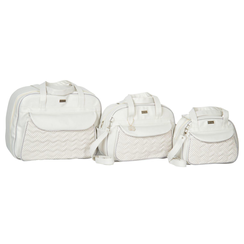 Conjunto de Bolsas Maternidade Chevron Poá Palha