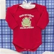 Body Manga Longa Sapo Príncipe Vermelho Recém-nascido a 3 meses