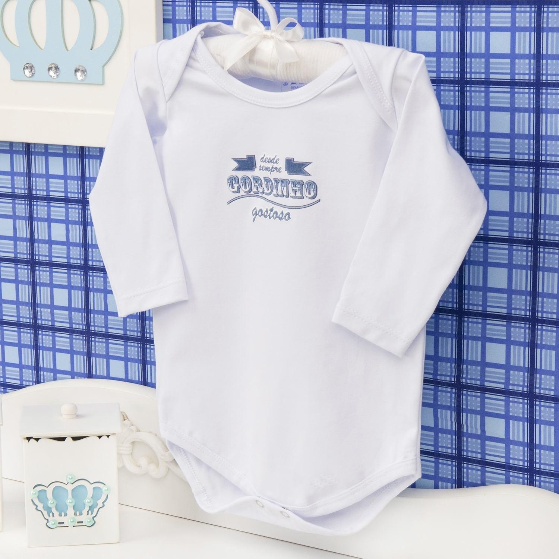 Body Manga Longa Gordinho Gostoso Branco Recém-nascido a 3 meses